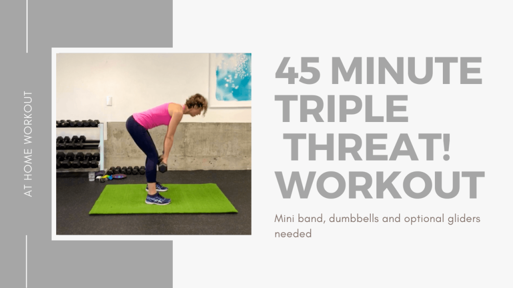 45 Minute Triple threat. Dumbbells, mini bands and glider! - 45 minute workout, gliders weights, dumbbells, mini band